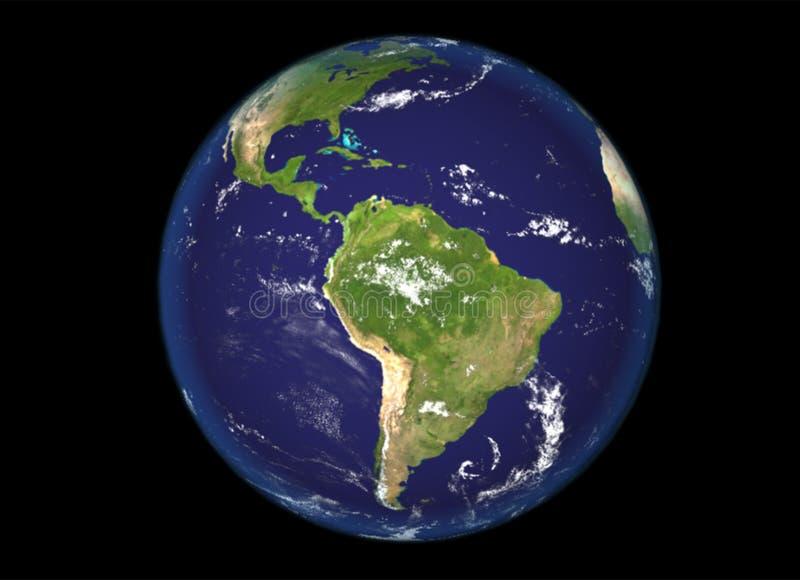 Norte del globo y ejemplo de Suramérica, 3d, textura de la tierra de la NASA ilustración del vector