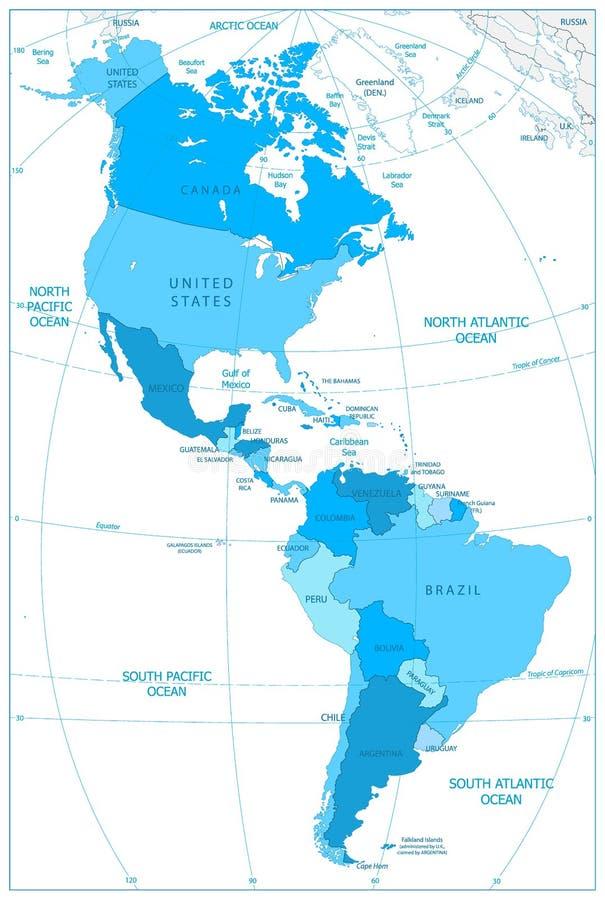 Norte y mapa de Suramérica en colores del azul ilustración del vector