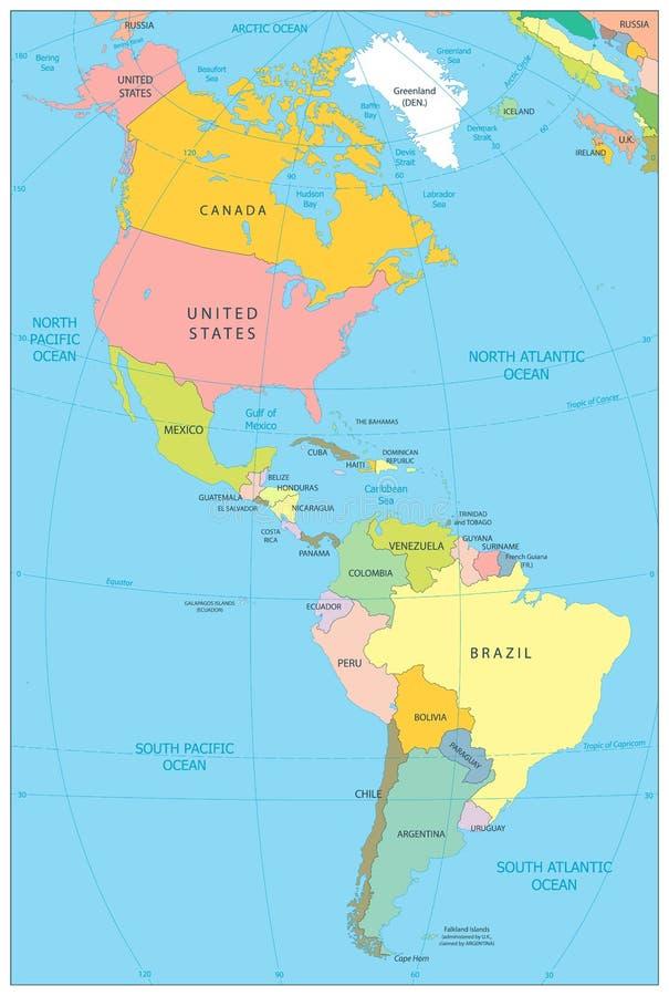 Norte y mapa político de Suramérica stock de ilustración