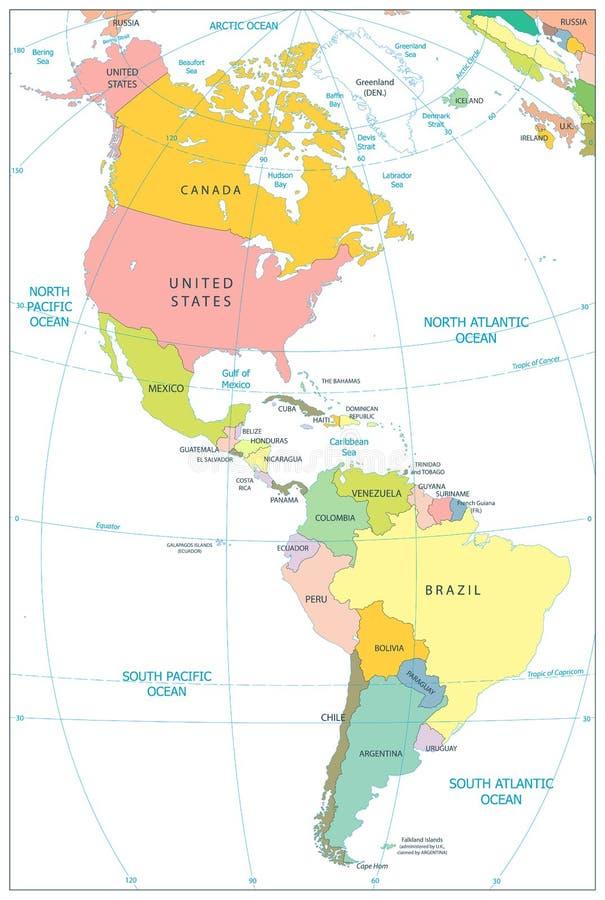 Norte y mapa político de Suramérica aislado en blanco libre illustration