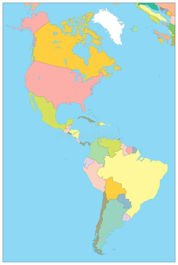 Norte y mapa político de Suramérica NINGÚN texto libre illustration