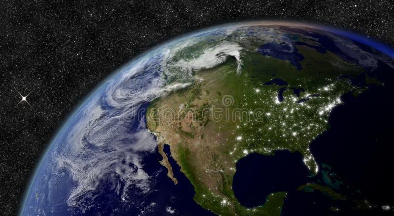 Norteamérica del espacio ilustración del vector