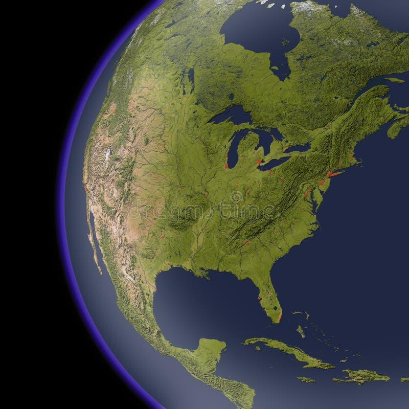 Norteamérica del espacio, correspondencia de relevación sombreada. ilustración del vector