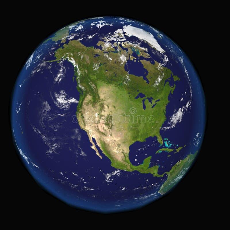 Norteamérica del espacio Elementos de esta imagen 3d equipados por la NASA stock de ilustración
