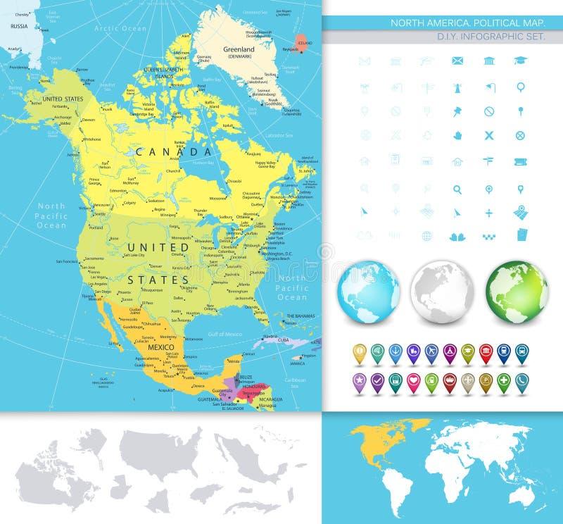 Norteamérica detalló el mapa político ilustración del vector
