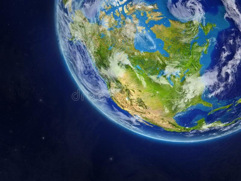 Norteamérica en la tierra del planeta del espacio Detalle fino mismo de la superficie y de las nubes del planeta ilustración 3D E ilustración del vector