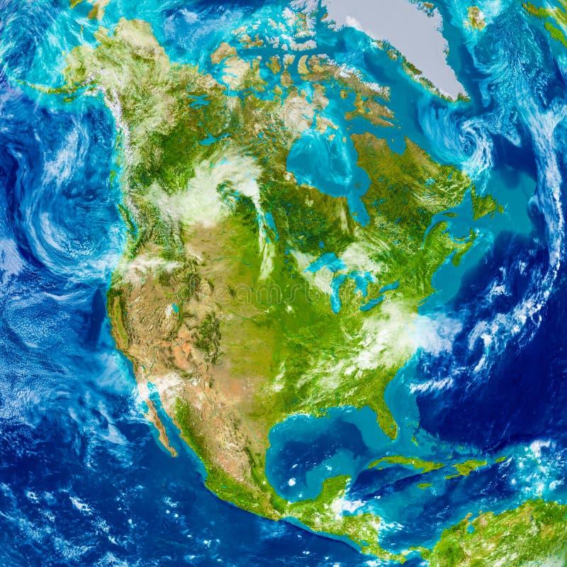 Norteamérica en mapa físico libre illustration