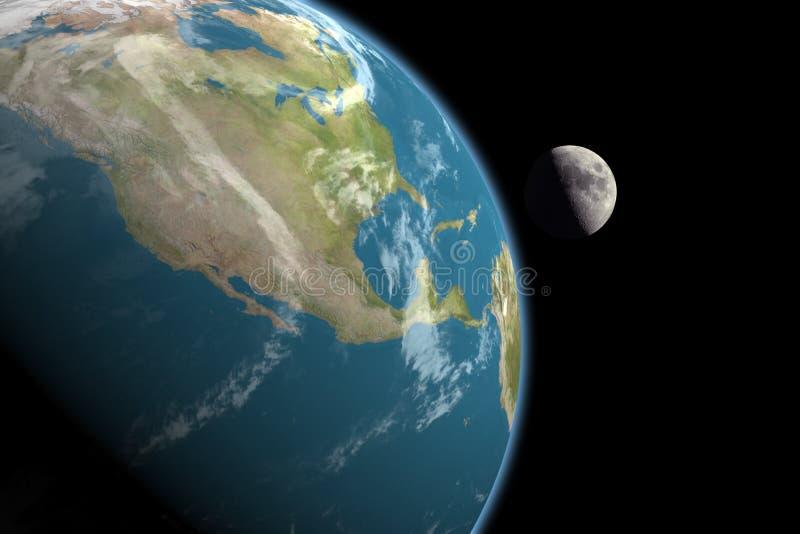 Norteamérica y luna, ningunas estrellas ilustración del vector