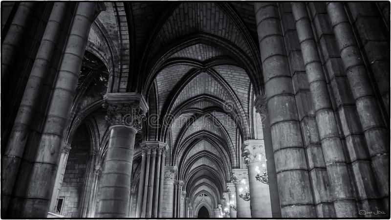 North Aisle, Notre Dame de Paris stock images