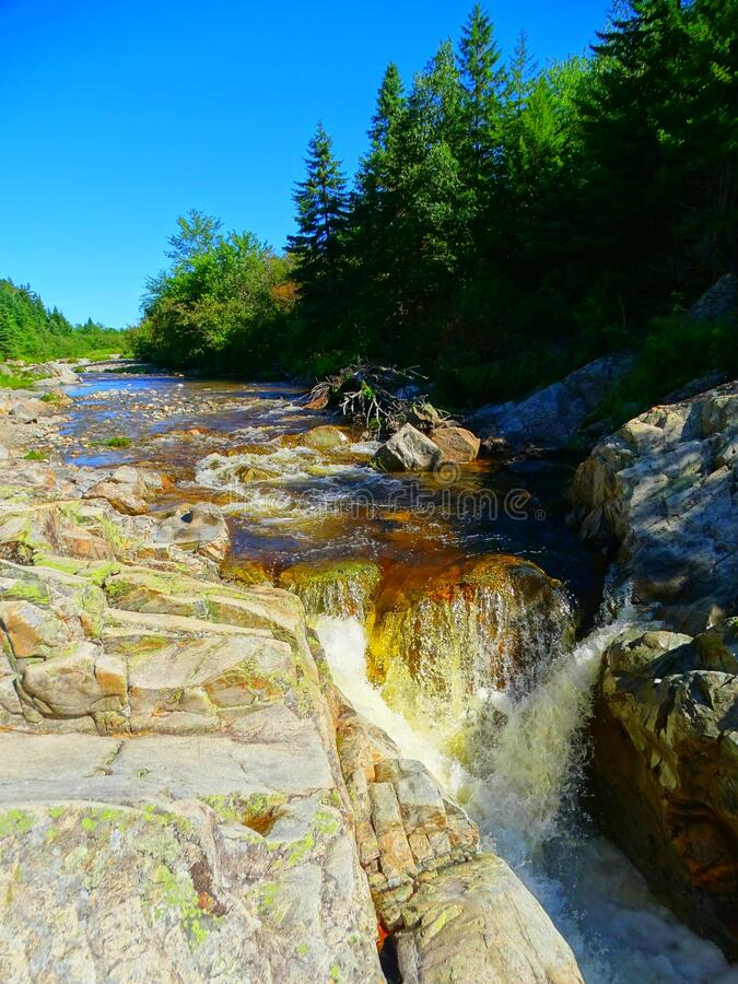 North America, Canada, New Brunswick, Fundy National Park, Forks and Orignal Trails, Broad River. North America, Canada, Province of New Brunswick, Fundy royalty free stock photography