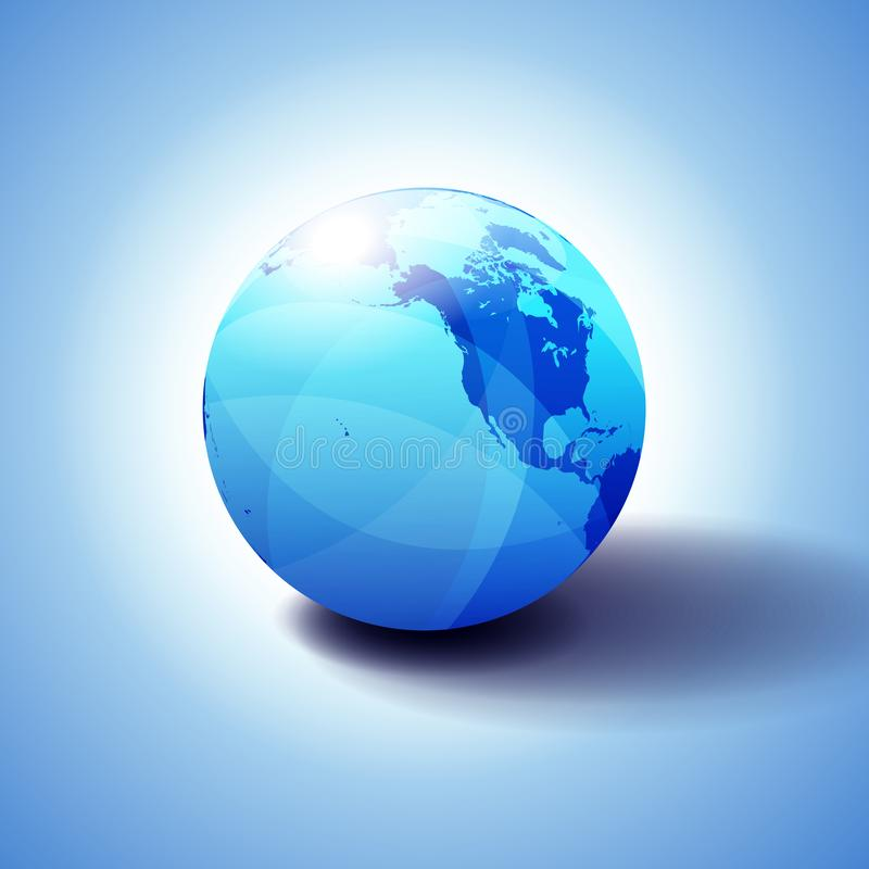 North America, Canada, Siberia and Hawaii Background with Globe. Glossy, Shiny Sphere with Global Map in Subtle Blues giving a transparent feel vector illustration