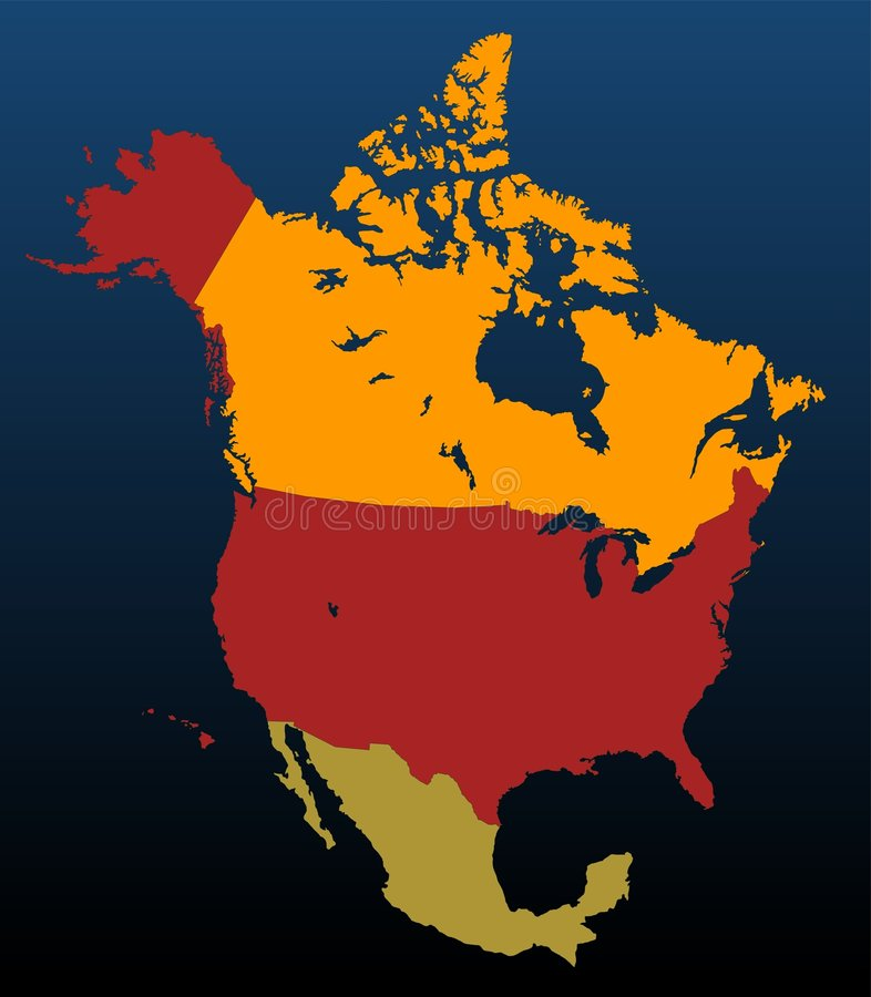 Download North America (coloured) Stock Photos - Image: 8069933