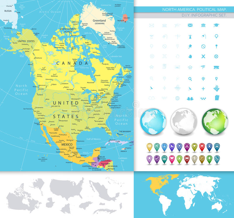 North America Detailed Political Map Stock Vector Image 59316989