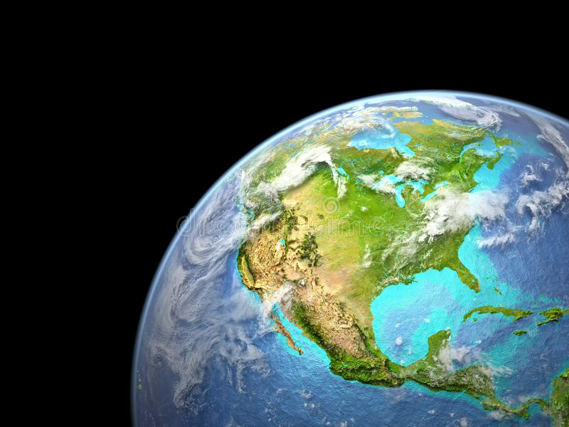 North America on Earth from space. Very fine detail of planet surface, realistic clouds and visible ocean floor. 3D illustration. Elements of this image vector illustration