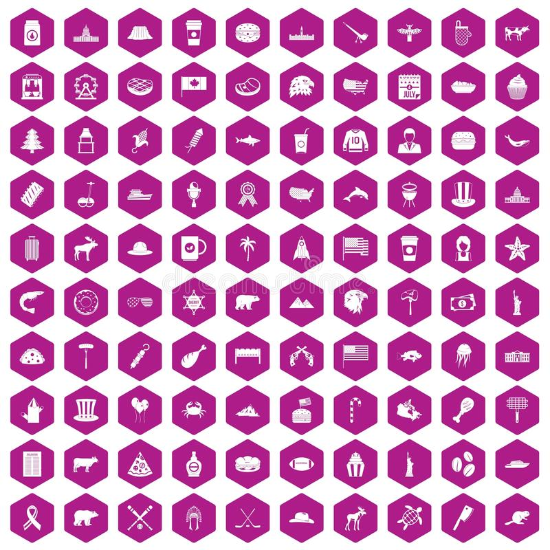 100 North America icons hexagon violet stock illustration