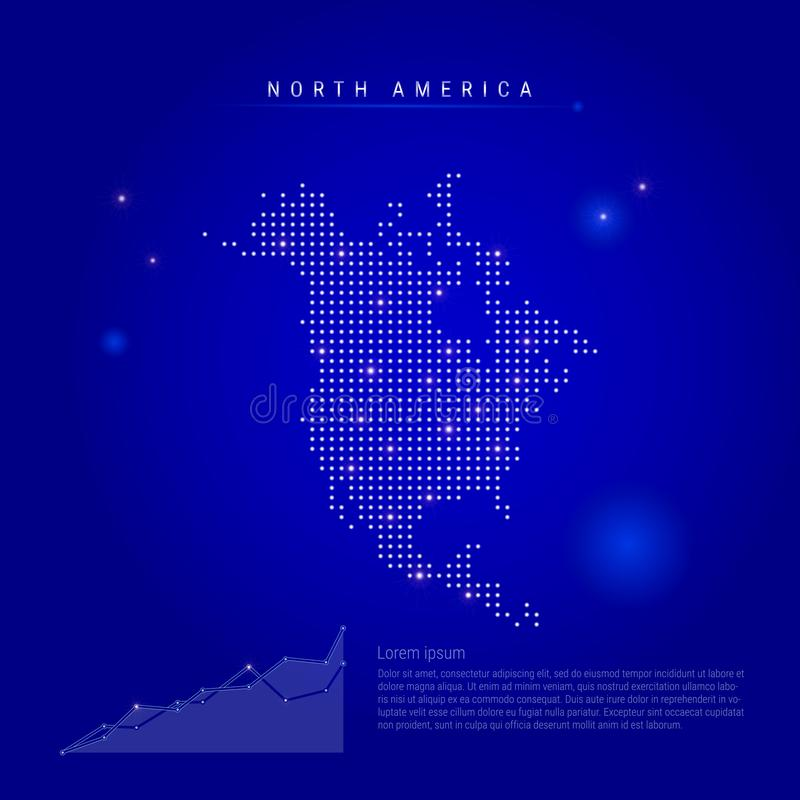 North America illuminated map with glowing dots. Dark blue space background. Vector illustration royalty free illustration
