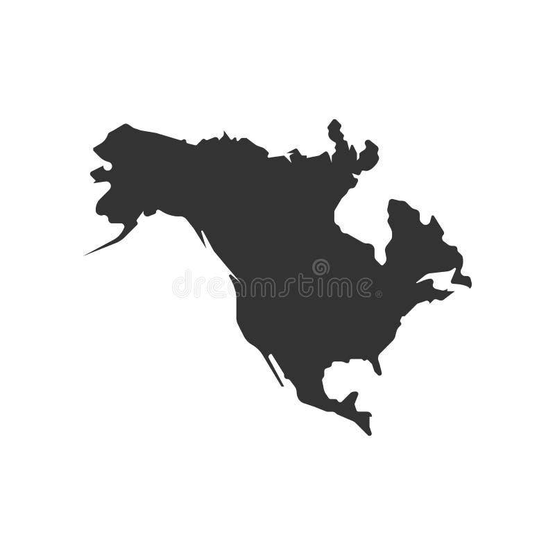 North America map icon. Flat design stock illustration