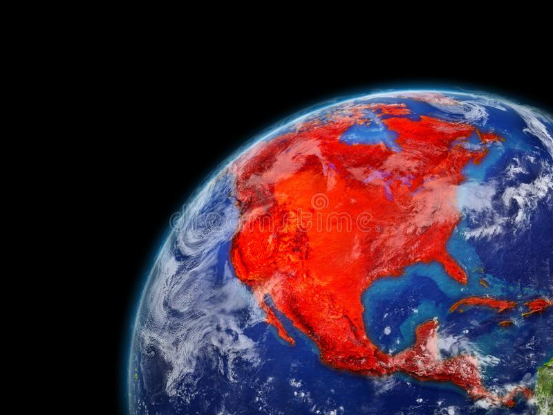 North America on model of planet Earth with very detailed planet surface and clouds. Continent highlighted in red. 3D illustration. Elements of this image vector illustration