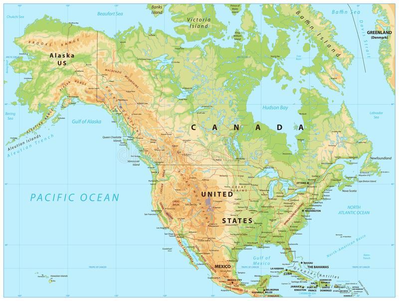 North America Physical Map. Vector illustration royalty free illustration
