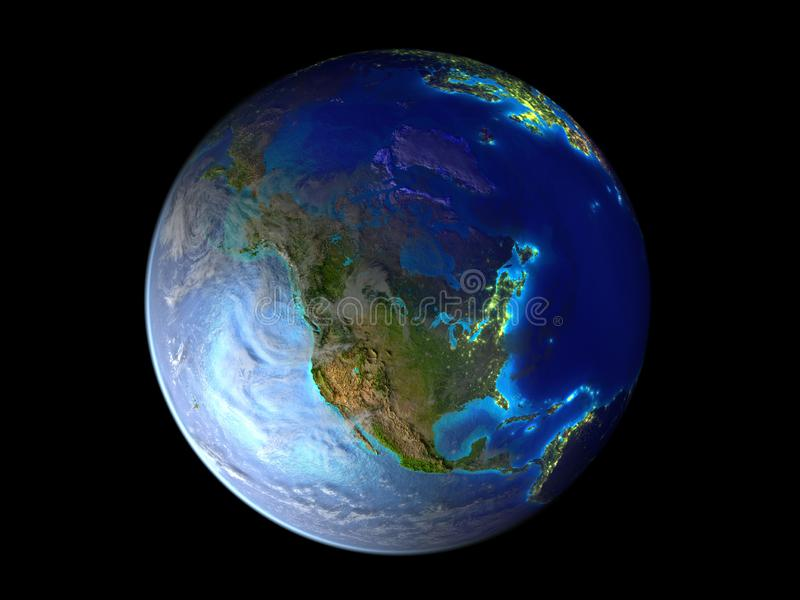 North America on planet Earth from space illuminated by city lights. 3D illustration isolated on white background. Elements of vector illustration