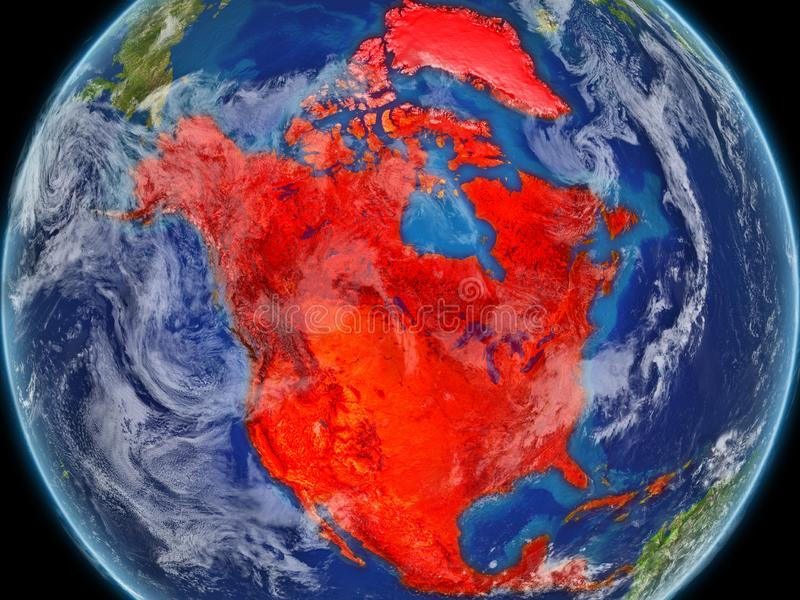 North America on realistic model of planet Earth with very detailed planet surface and clouds. Continent highlighted in red colour. 3D illustration. Elements royalty free illustration