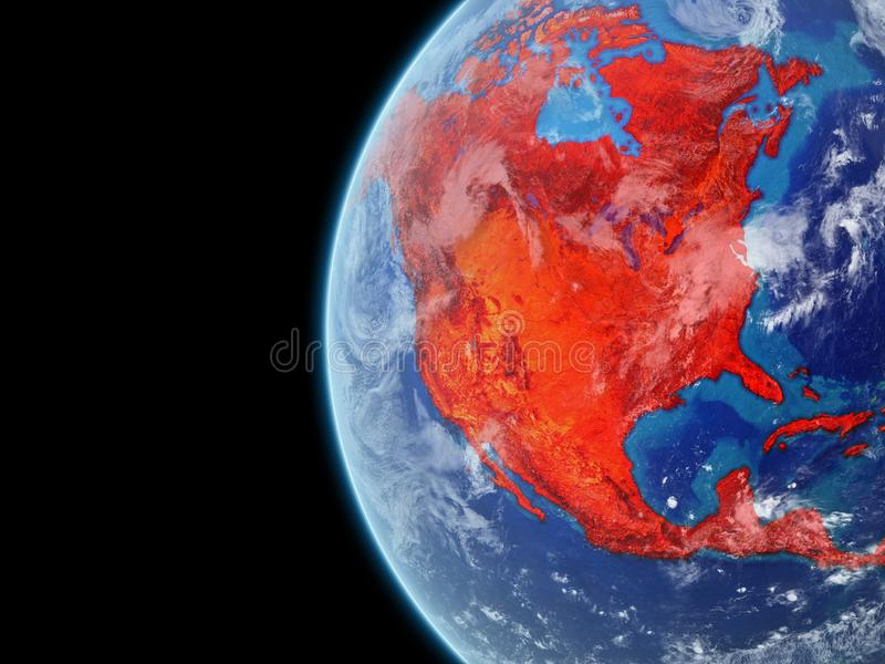 North America in red on globe vector illustration