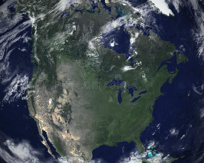 North America Space Satellite View. The continent of North America can be seen in this satellite space view. Nice background view of the world we call planet stock image