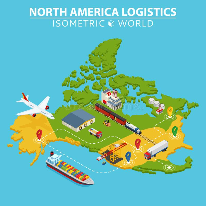 North America transportation and logistics. Delivery and shipping infographic elements. Vector Illustration vector illustration