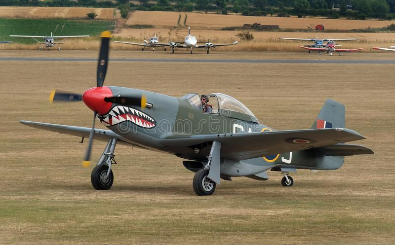 The North American Aviation P-51 Mustang is an American long-range, single-seat fighter and fighter-bomber. Flying Legends air show, Imperial War Museum royalty free stock photography