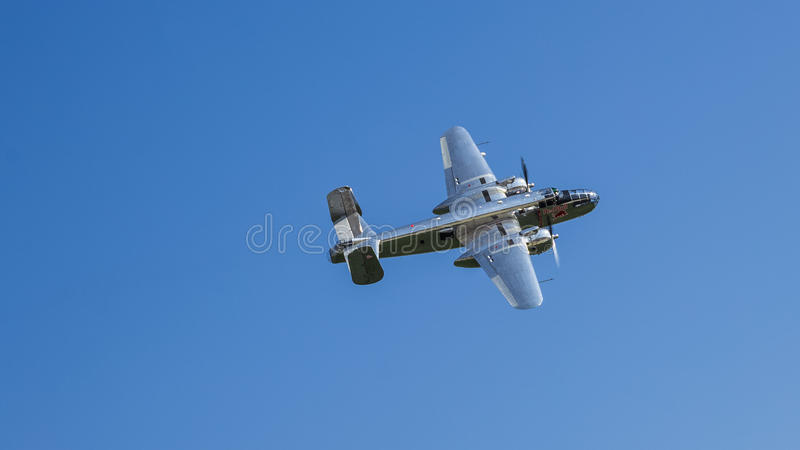 North American B-25 Mitchell. Red Bull (The Flying Bulls) flight demonstration at Bucharest International Air Show 2013 stock image