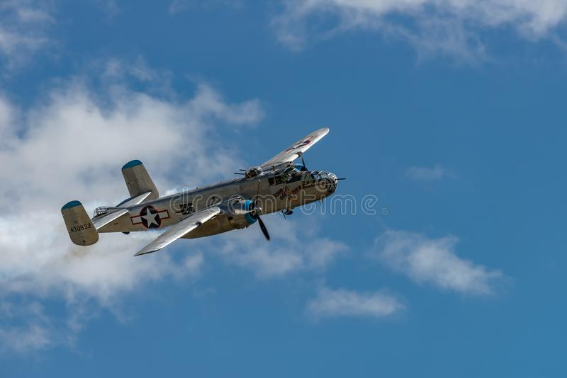 North American B-25J `Mitchell `Take off Time stock photo