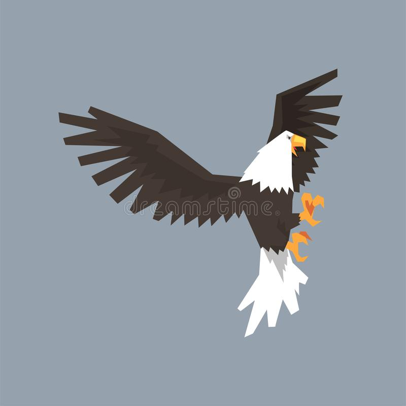 North American Bald Eagle Character With Outstretched Wings Symbol