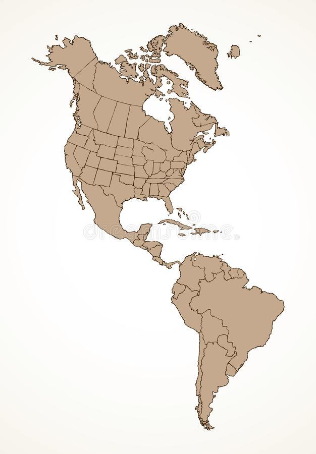 North American continent with contours of countries. Vector drawing royalty free illustration