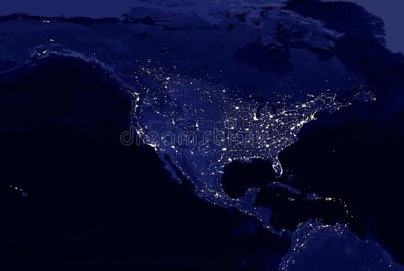 North American continent electric lights map at night royalty free illustration