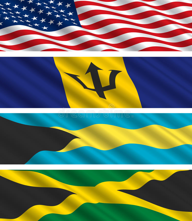 Download North American Flags In The Wind Stock Photography - Image: 14069582