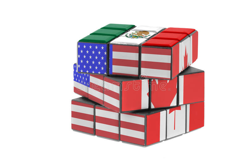 North American Free Trade Agreement. Economic puzzle concept royalty free stock photography
