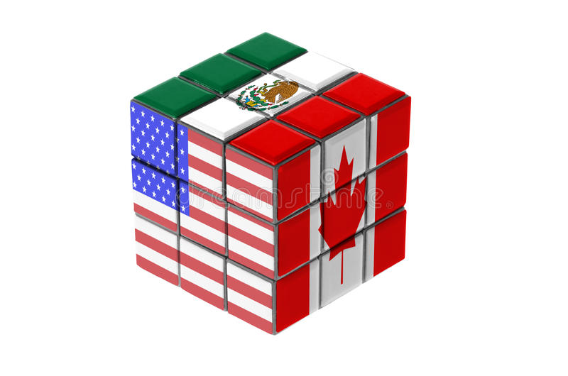 North American Free Trade Agreement. Economic puzzle concept royalty free stock images