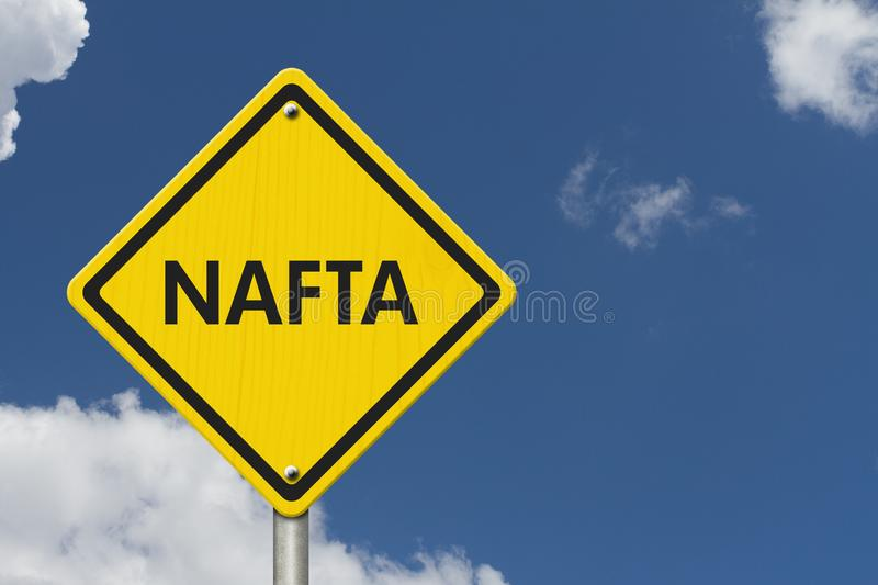 North American Free Trade Agreement yellow warning road sign stock image