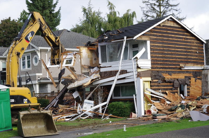 North American house demolition stock photography