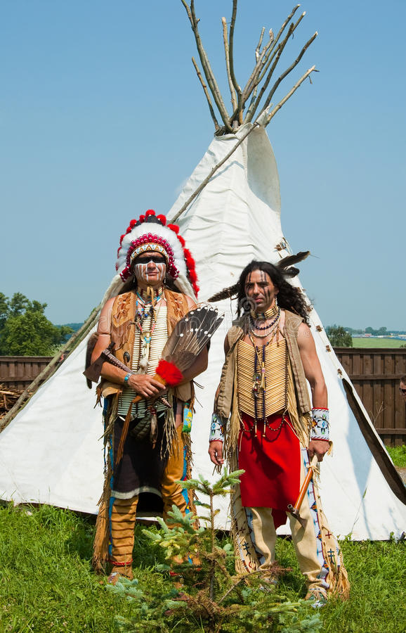 North American Indian. In full dress. Reconstruction royalty free stock images