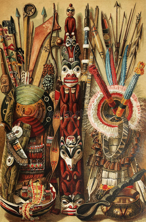 North American Indian culture. Tools. The drawing is over 100 years old stock photography