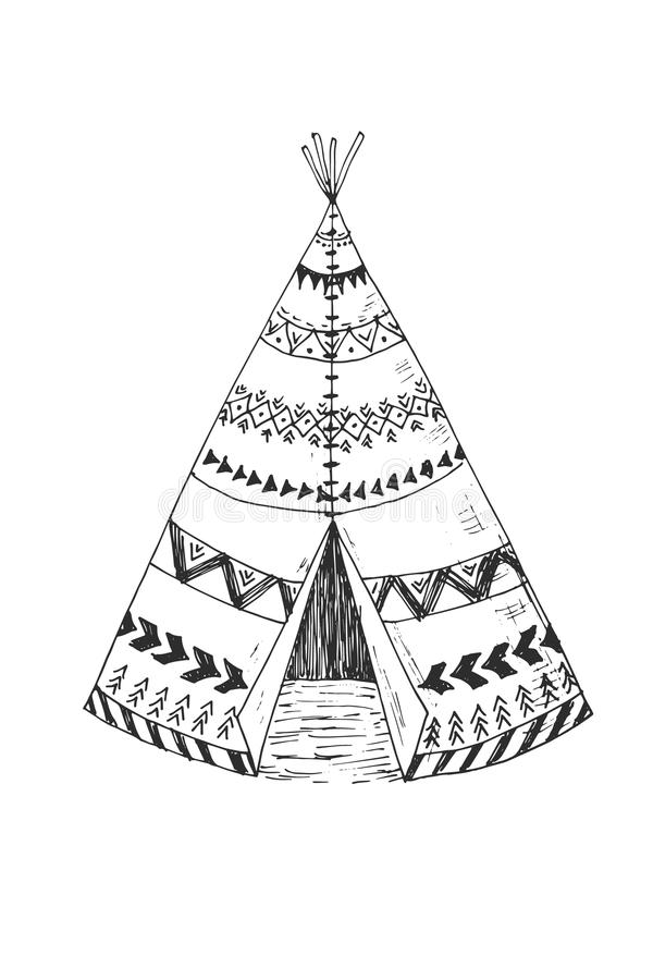 Kleurplaat Camping Tent North American Indian Tipi With Tribal Ornament Stock