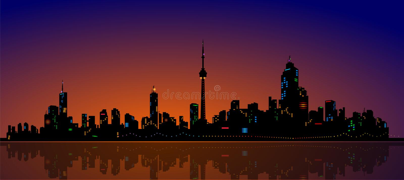 North American Metropolis Skyline Urban City Drama. Tic Night View, detailed realistic vector vector illustration
