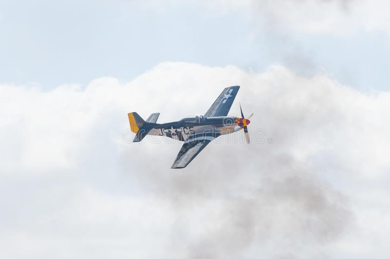 North American P-51D Mustang  during the Miramar Air Show royalty free stock images