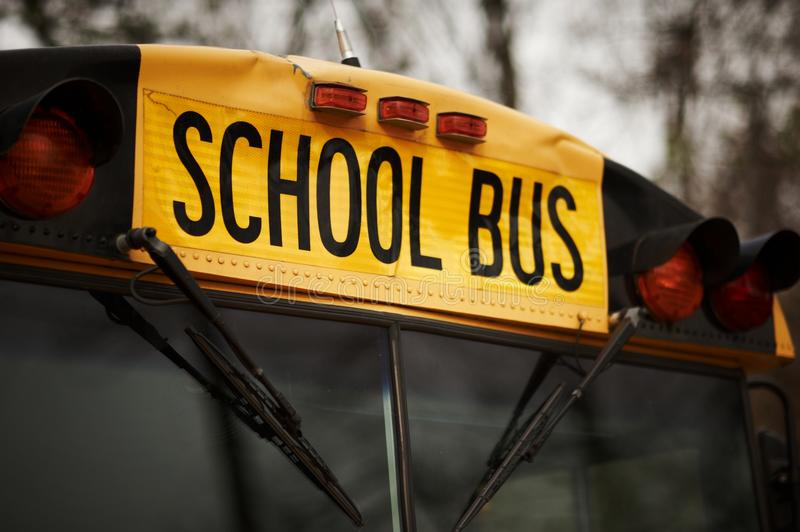 North American school bus windshield. Close up royalty free stock image
