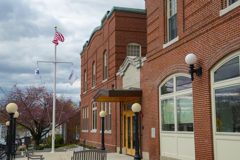 North Andover town hall, Massachusetts, USA. North Andover town hall on 120 Main Street in town center of North Andover, Massachusetts MA, USA stock image