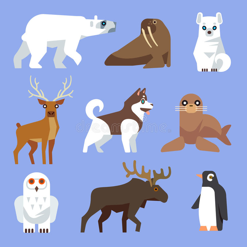 North Arctic or Antarctic animals and birds. Vector flat collection vector illustration