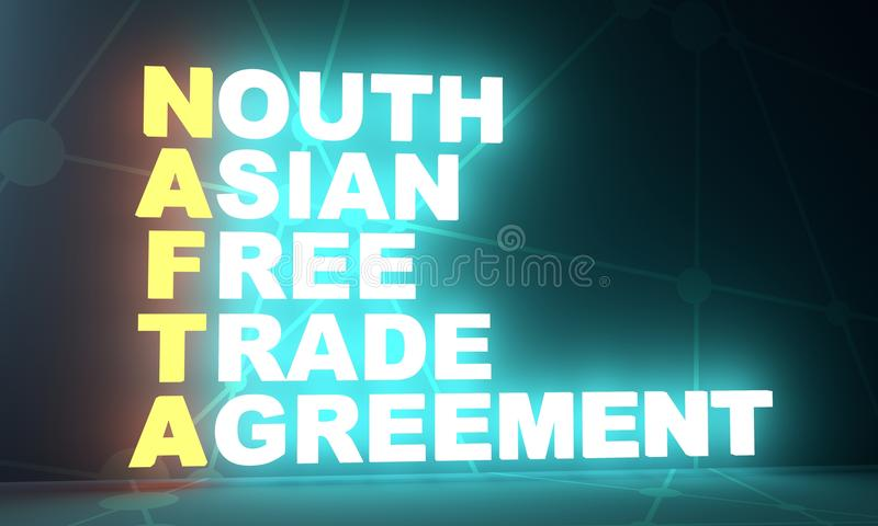 North Asia Free Trade Agreement Acronym Stock Illustration