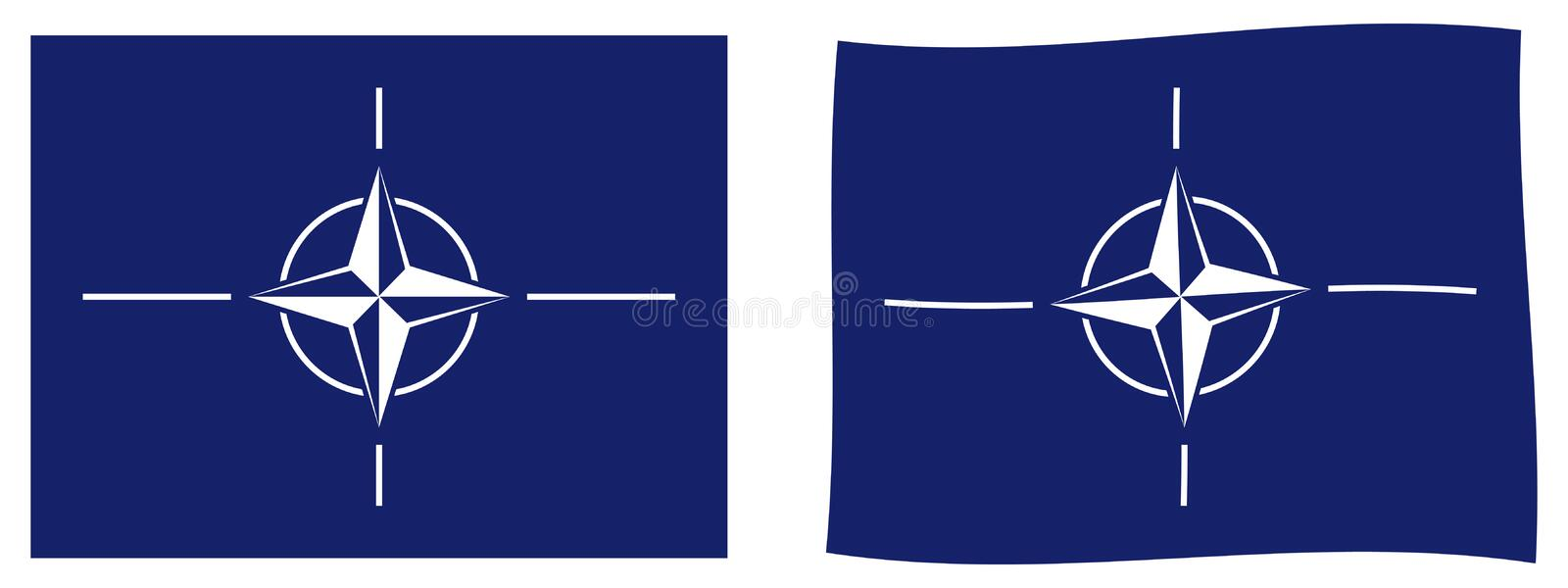 North Atlantic Treaty Organization NATO flag. Simple and sligh. Tly waving version royalty free illustration