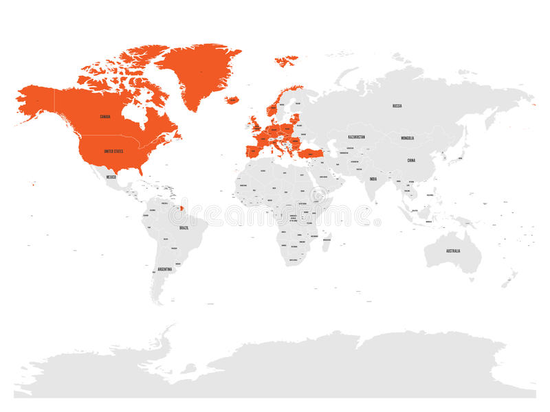 north atlantic treaty organization nato member countries highlighted by orange in world political map 29 member states since june 2017